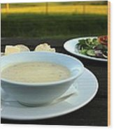Celery Root Soup And Salad Wood Print