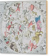 Celestial Planisphere Showing The Signs Of The Zodiac Wood Print by Andreas Cellarius