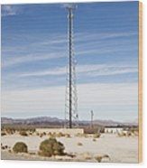 Cellular Phone Tower In Desert Wood Print