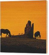 Celtic Horses In Sunset Wood Print