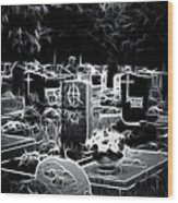Cemetary At Night Wood Print by Ellen Heaverlo