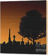Cemetery And Tree Wood Print