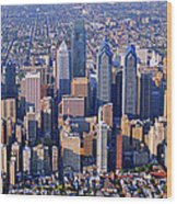 Center City Aerial Photograph Skyline Philadelphia Pennsylvania 19103 Wood Print