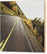 Center Lines Along A Paved Road In Autumn Wood Print