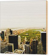 Central Park And The New York City Skyline From Above Wood Print
