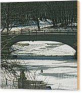 Central Park Bridge-winter Wood Print