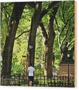 Central Park Jogging Wood Print