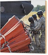 Ch-47 Chinook Helicopter Crew Prepare Wood Print