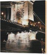 Chain Bridge At Night Wood Print