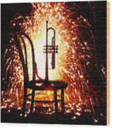 Chair And Horn With Fireworks Wood Print