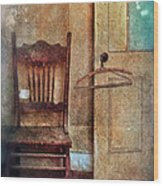 Chair By Open Door Wood Print