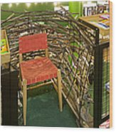 Chair In A Bookstore Wood Print