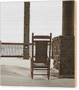 Chair On A Snowy Balcony Wood Print