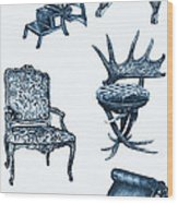 Chair Poster In Blue Wood Print by Adendorff Design