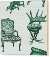 Chair Poster In Green  Wood Print