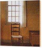 Chair Under Window Wood Print