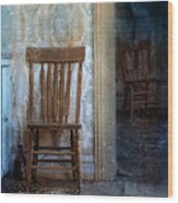 Chairs In Rundown House Wood Print
