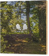 Chairs In The Sun Wood Print
