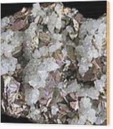 Chalcopyrite And Quartz Crystals Wood Print