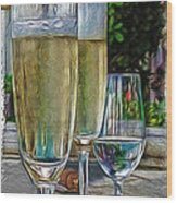 Champagne At The Beach Wood Print