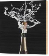 Champagne Cork Explosion Wood Print by Gualtiero Boffi