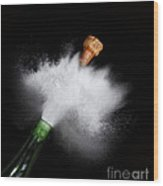 Champagne Cork Popping Wood Print
