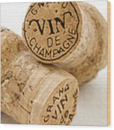 Champagne Corks Wood Print by Frank Tschakert