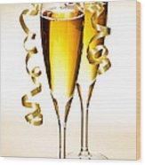 Champagne Glasses Wood Print by Elena Elisseeva