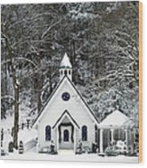 Chapel In The Snow - D007592 Wood Print by Daniel Dempster