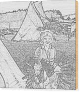 Charcole American Indian Children  Wood Print