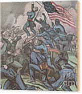 Charge Of The 54th Massachusetts Wood Print by Photo Researchers