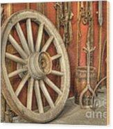 Chariot Wheel Wood Print