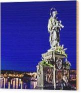 Charles Bridge Statue Of St John Of Nepomuk     Wood Print by Jon Berghoff