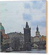 Charles Street Bridge And Old Town Prague Wood Print