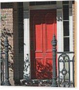 Charleston Red Door - Red White Black Door With Iron Gate Posts Wood Print