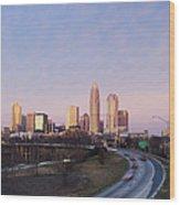 Charlotte Skyline At Sunrise Wood Print by Jeremy Woodhouse