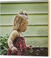 Chasing Bubbles Wood Print