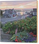 Chatham Fish Pier Summer Flowers Cape Cod Wood Print by John Burk