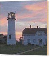 Chatham Lighthouse Sunset Wood Print