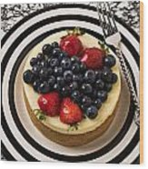 Cheese Cake On Black And White Plate Wood Print