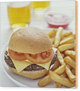Cheeseburger And Chips Wood Print by David Munns