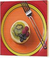 Cheesecake On Plate Wood Print