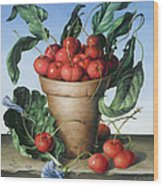 Cherries In Terracotta With Blue Flower Wood Print