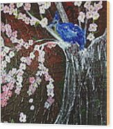 Cherry Blossom And Blue Bird  Wood Print by Pretchill Smith