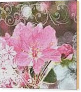 Cherry Blossom Art With Decorations Wood Print