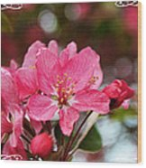 Cherry Blossom Greeting Card Blank With Decorations Wood Print