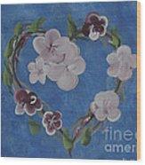 Cherry Blossom Heart Wood Print