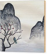 Cherry Blossom Mountains Wood Print
