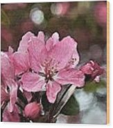 Cherry Blossom Photo Art And Blank Greeting Card Wood Print