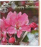 Cherry Blossoms Greeting Card  Bi Wood Print